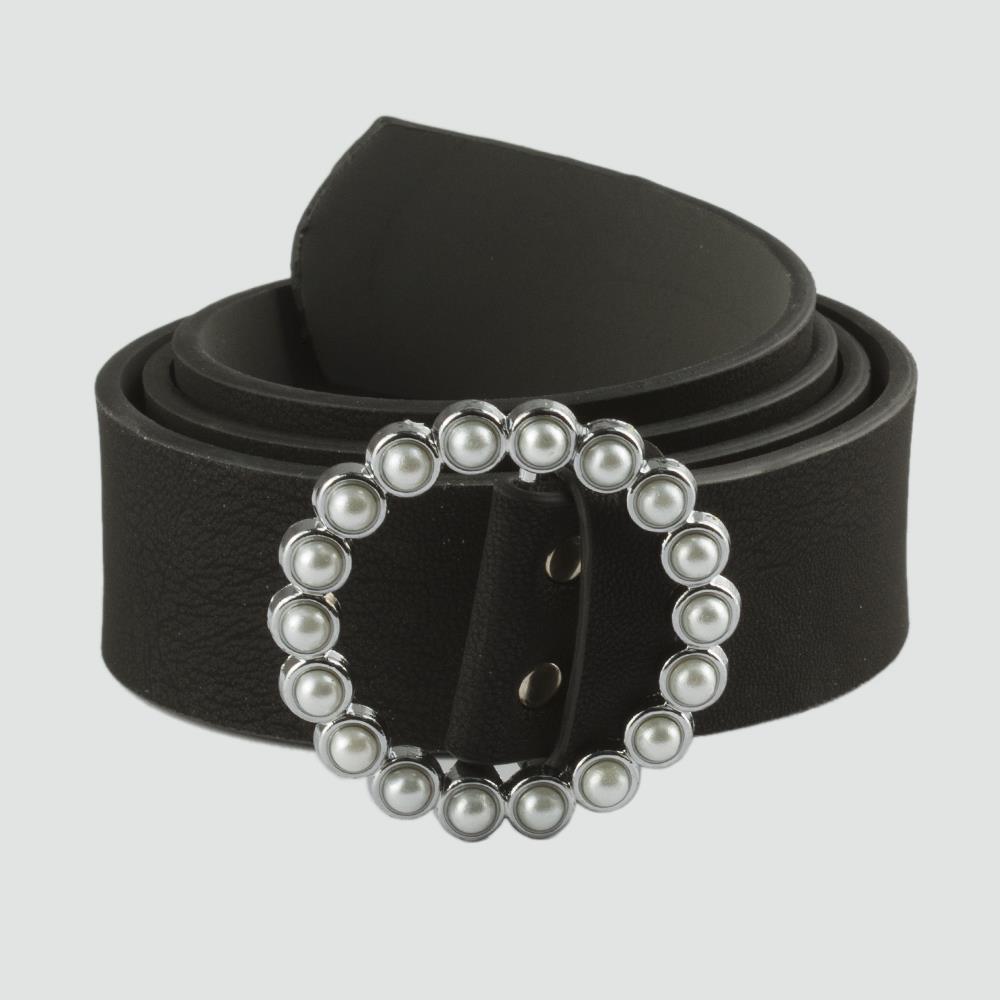 حزام جلد بقفل وفصوص نسائي (4 سم)
