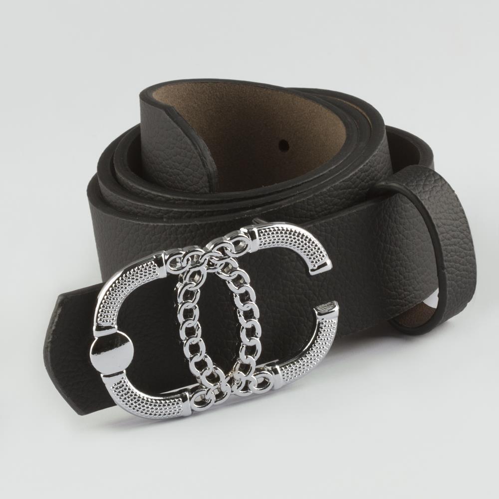 حزام جلد بقفل سلسلة نسائي (3.5 سم)