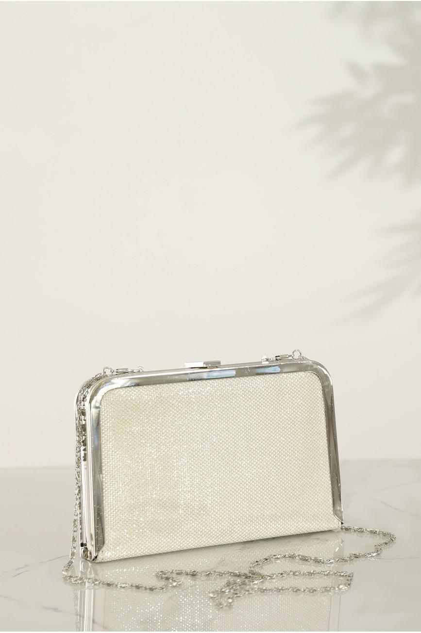 Women's Chain Strap Silver Clutch Bag