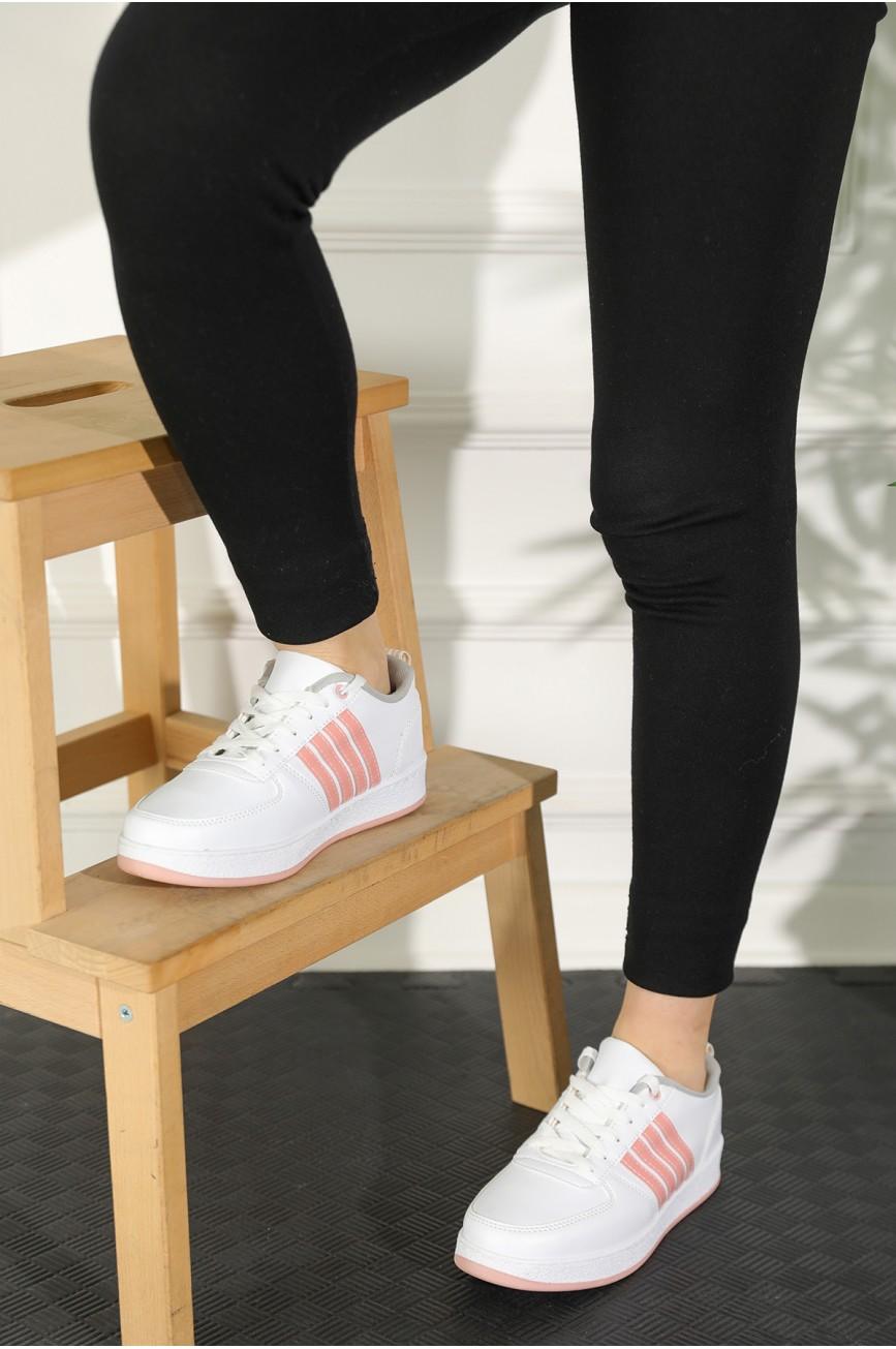 Women's Pink Stripe Detail White Sport Shoes