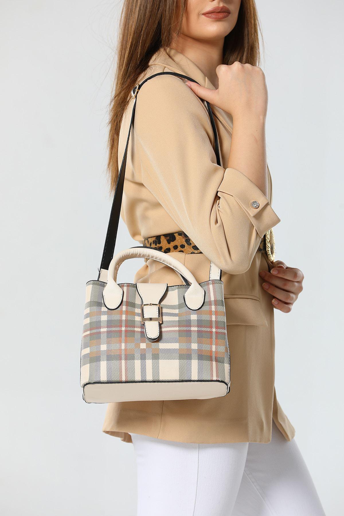 حقيبة كاجوال مزخرفة بمربعات نسائية