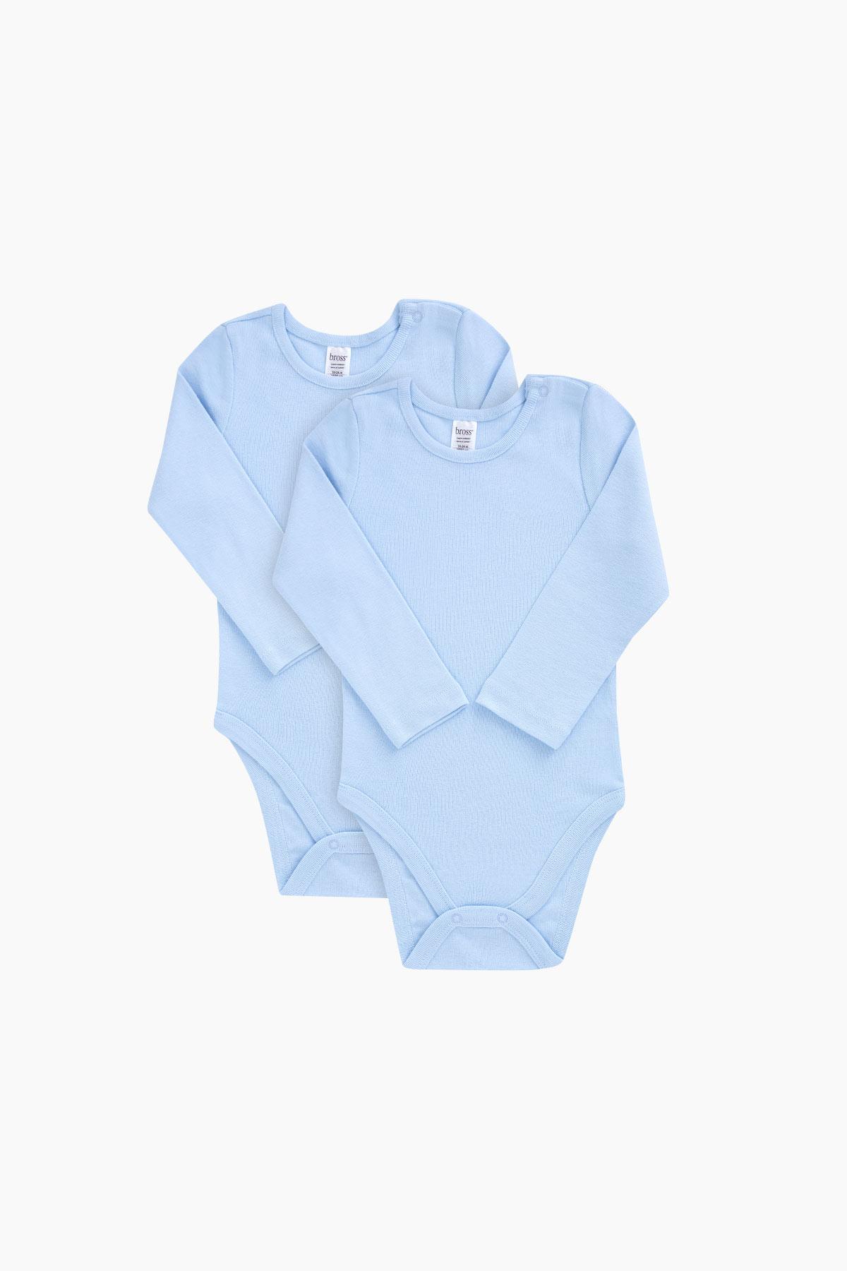 ملابس رياضية قطن زرقاء بأكمام طويلة رضع ولادي - 2 قطعة
