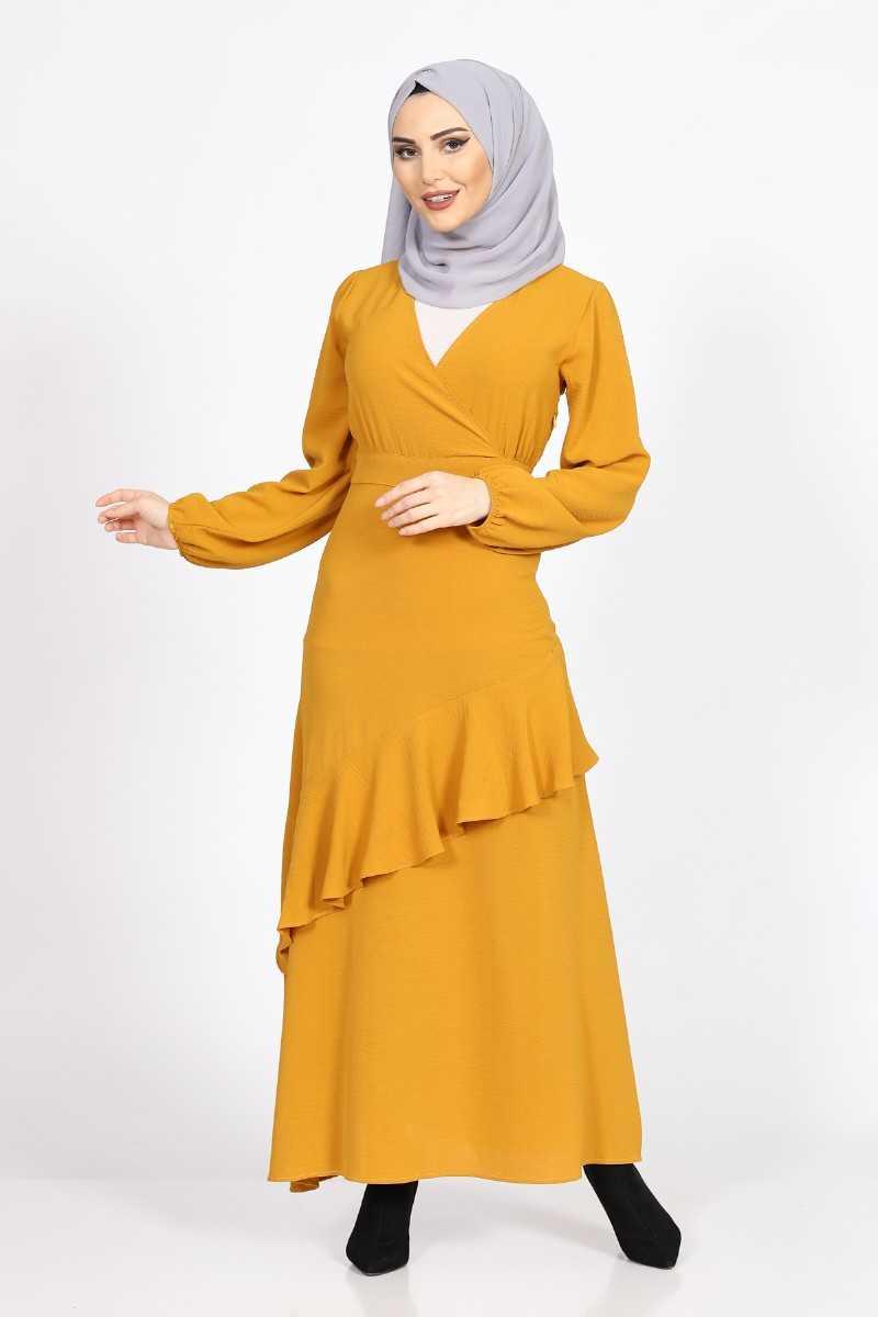 فستان طويل محتشم أصفر غامق مكشكش بقصة متباينة الأطراف نسائي