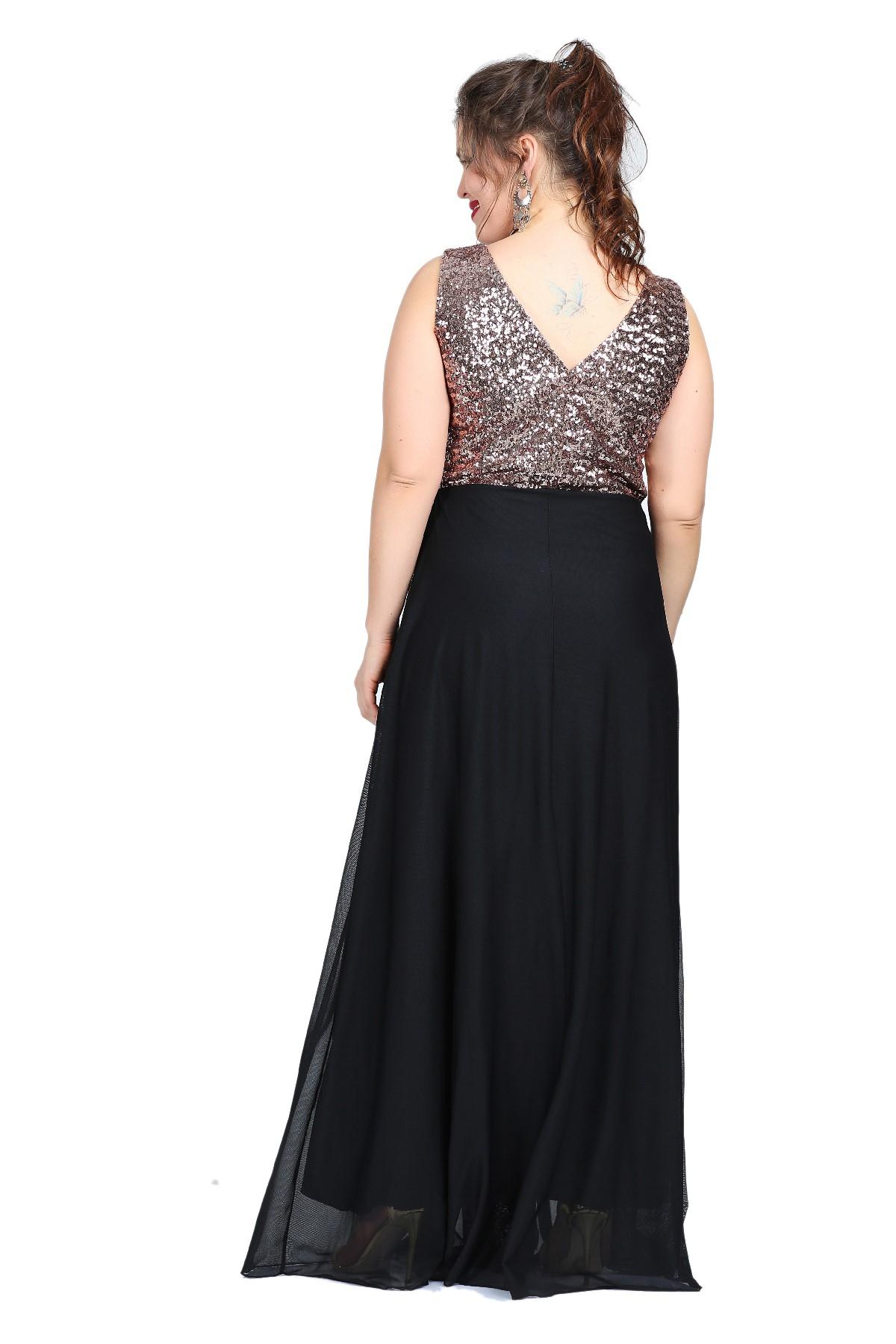 Women's Oversize Long Sequin Chiffon Dress