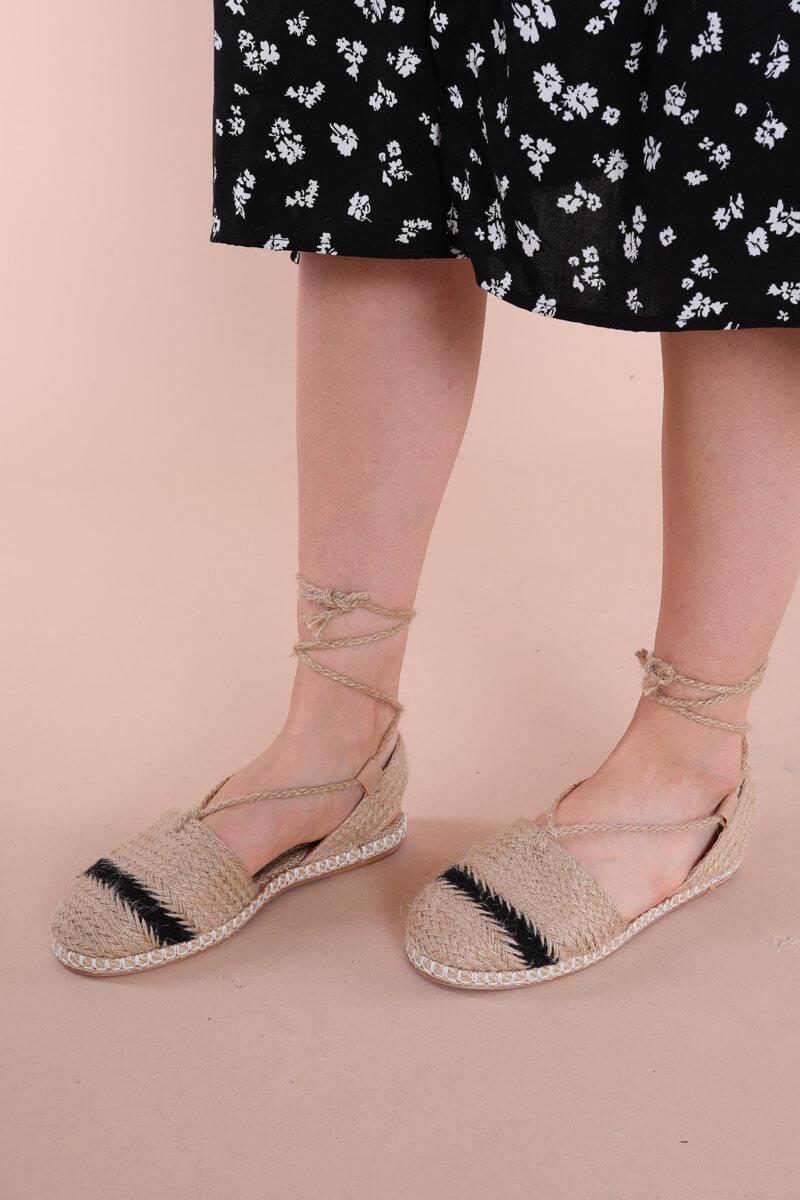 Women's Black Striped Straw Espadrille Shoes