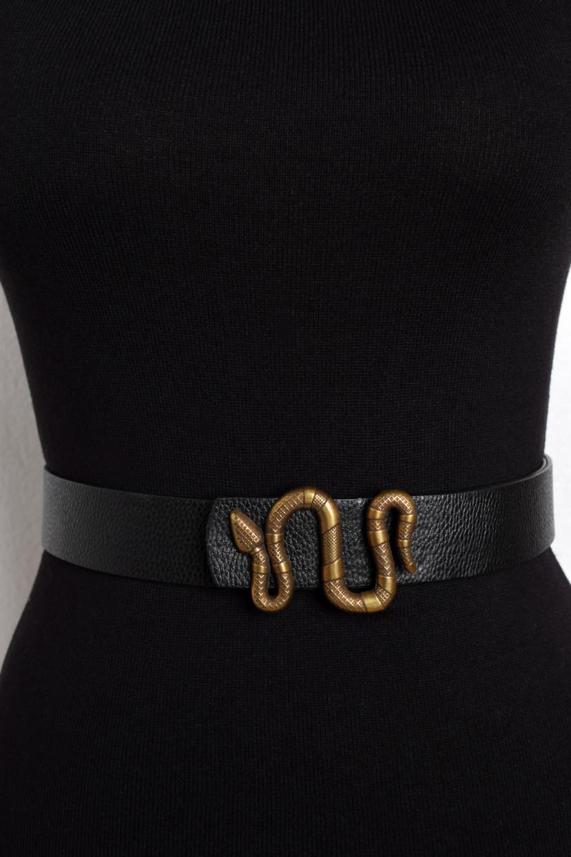 Women's Snake Figure Buckle Black Belt