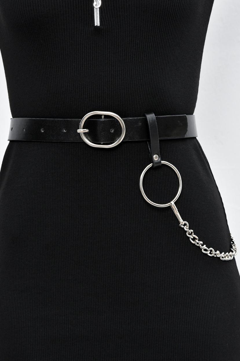 Women's Buckle Black Belt