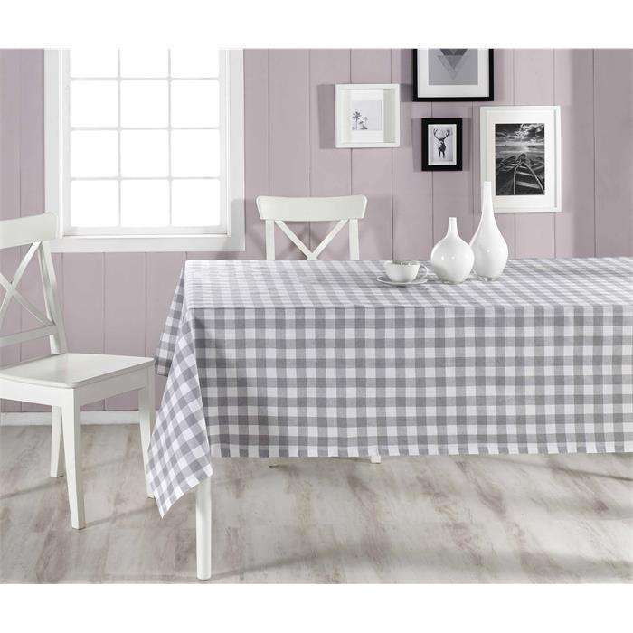 Checkered Grey- White Table Cloth- 160×160 cm