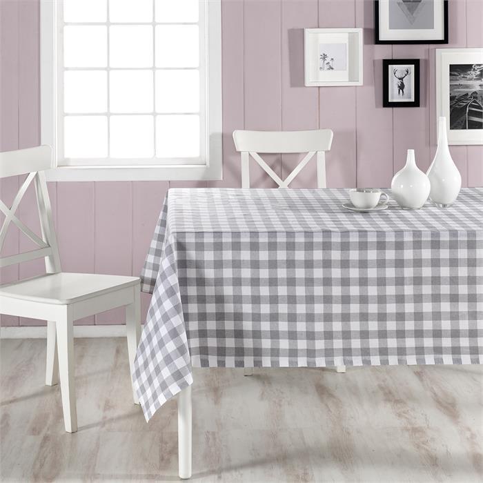 مفرش طاولة أبيض رمادي بمربعات- 160*160 سم