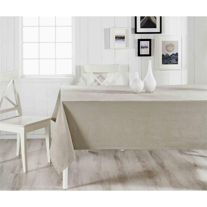 Stain-Resistant Beige Tablecloth