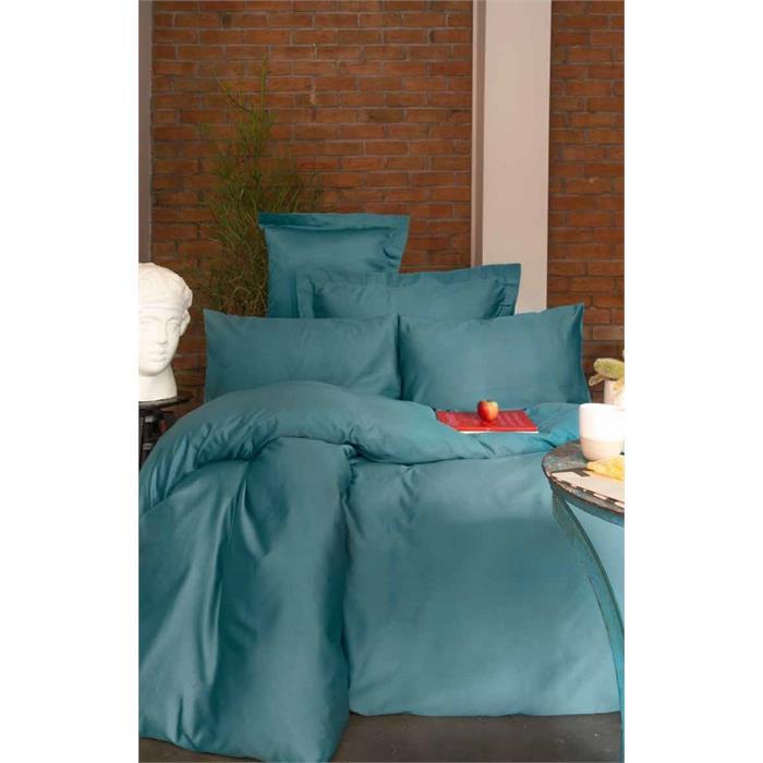 طقم غطاء سرير فردي ستان بترولي (غطاء لحاف: 160*220 سم، ملاية: 160*240 سم، 2 قطع غطاء وسادة: 50*70 سم)