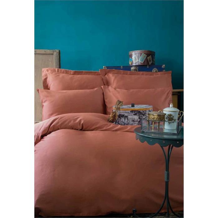 طقم غطاء سرير مزدوج ستان نحاسي (غطاء لحاف: 200*220 سم، ملاية: 240*260 سم، 4 قطع غطاء وسادة: 50*70 سم)