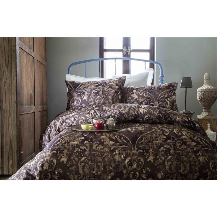 طقم غطاء لحاف سرير فردي بني بنفسجي بطبعة (غطاء لحاف: 160*220 سم، ملاية: 160*240 سم، 1 قطعة غطاء وسادة: 50*70 سم)