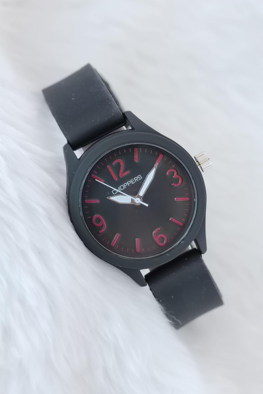 ساعة يد سيليكون رياضية سوداء نسائية