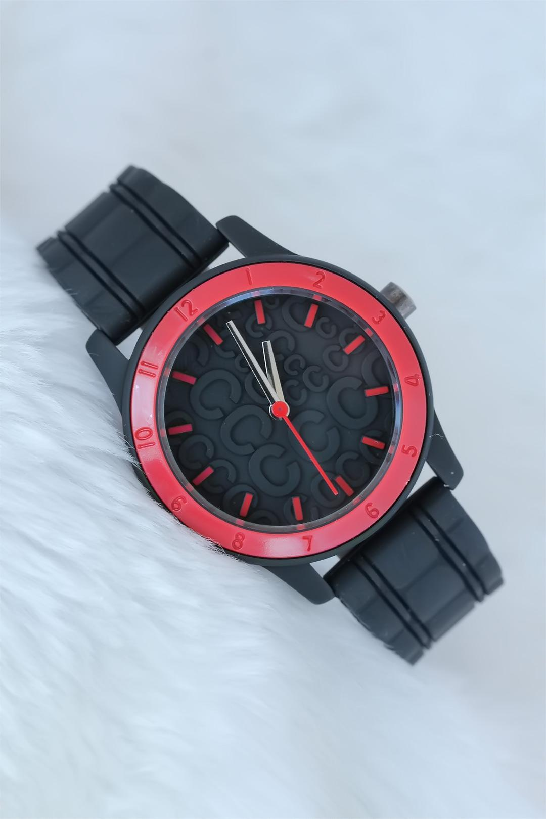 Women's Black Silicone Strap Embossed Inner Design Red Case Watch