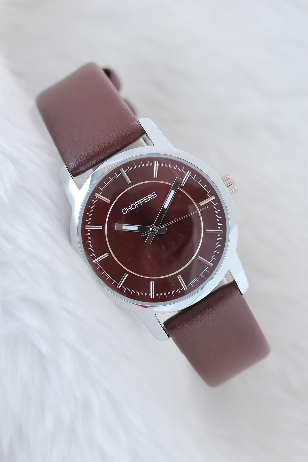 Women's Brown Leather Strap Silver Metal Case Watch