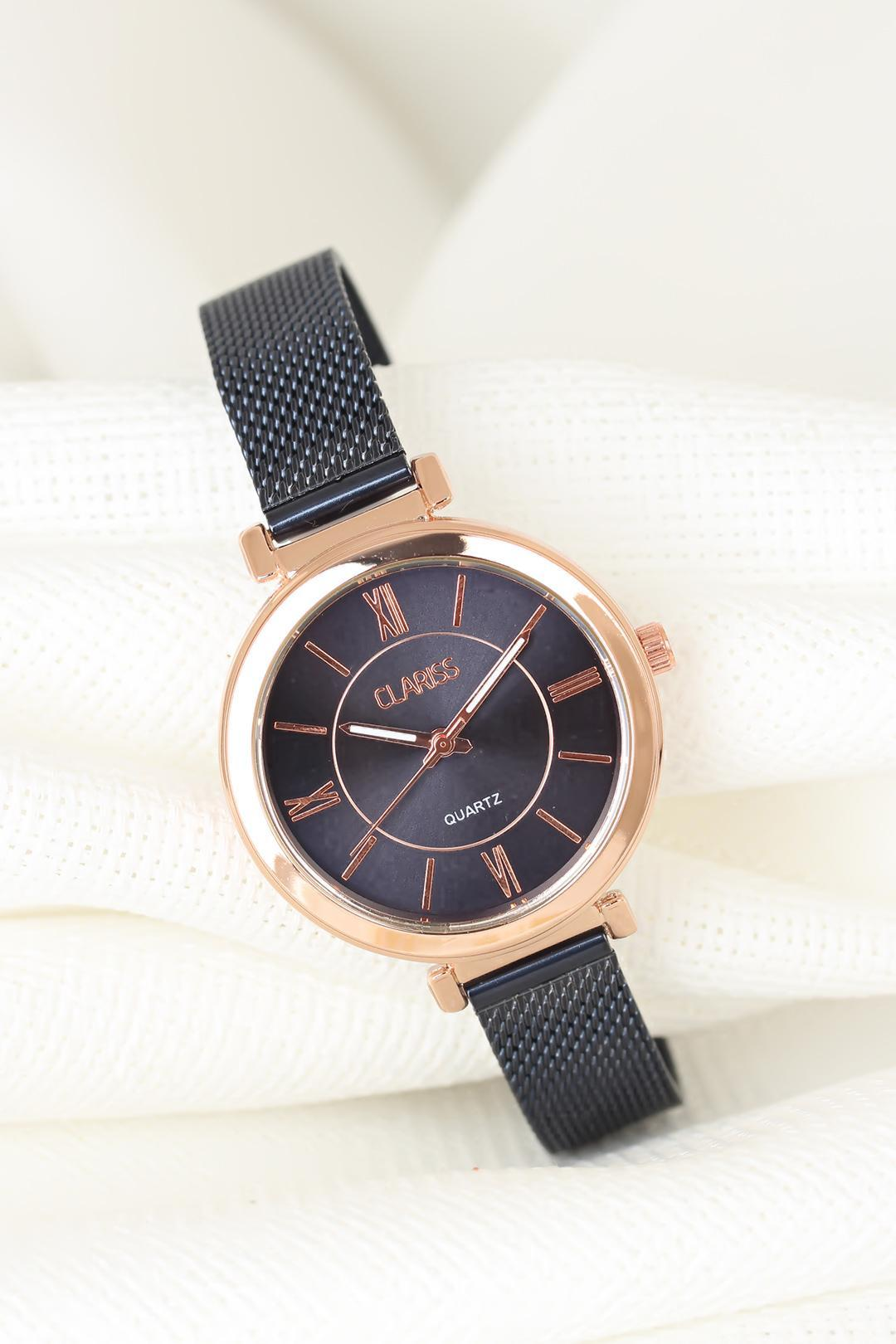 Women's Navy Blue Plated Straw Metal Corded Round Metal Rose Case Watch