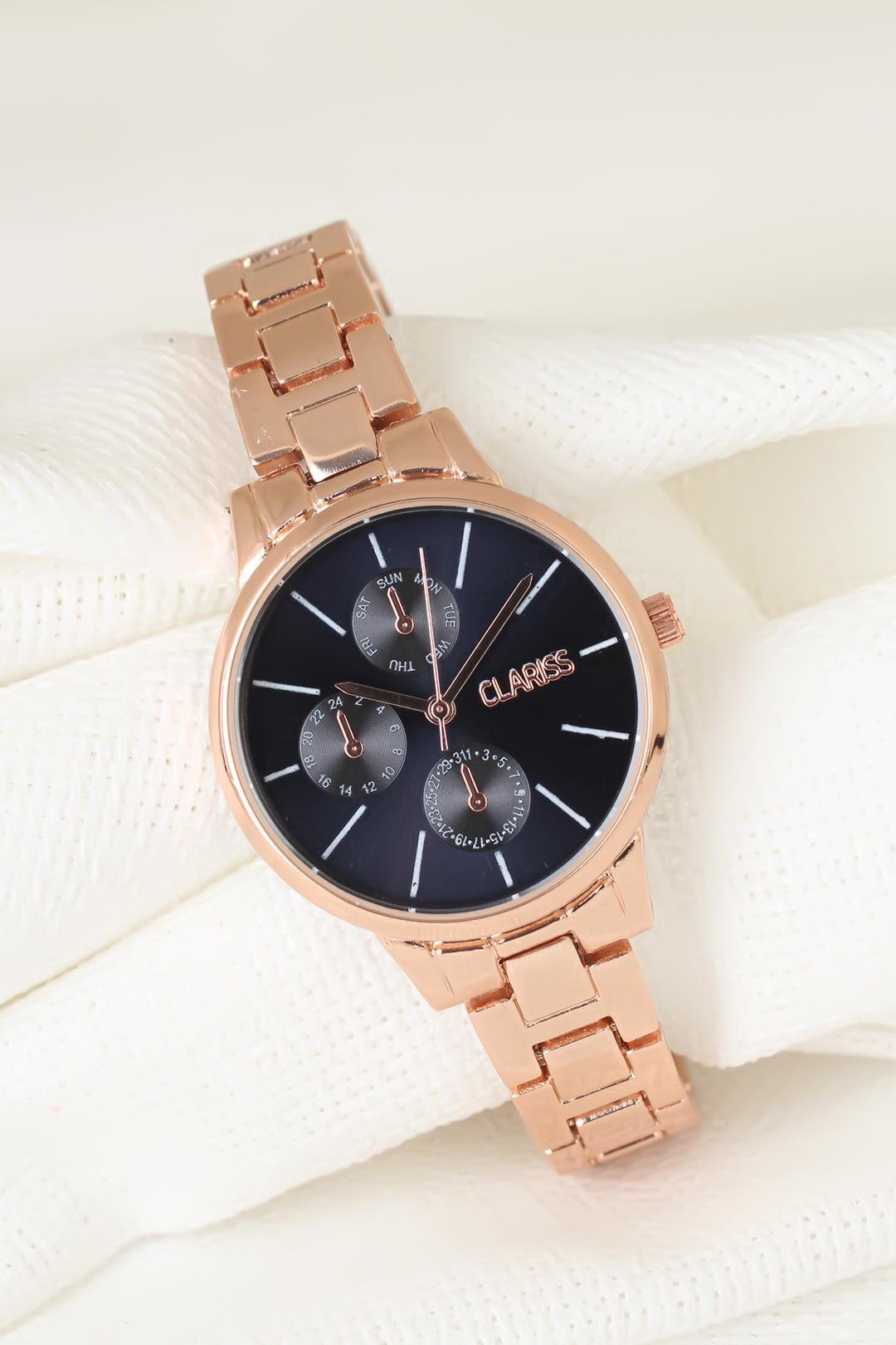 Women's Metal Rose Plated Cord Watch