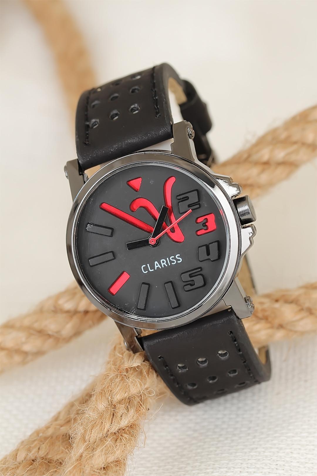ساعة يد جلد بإطار معدني نسائية
