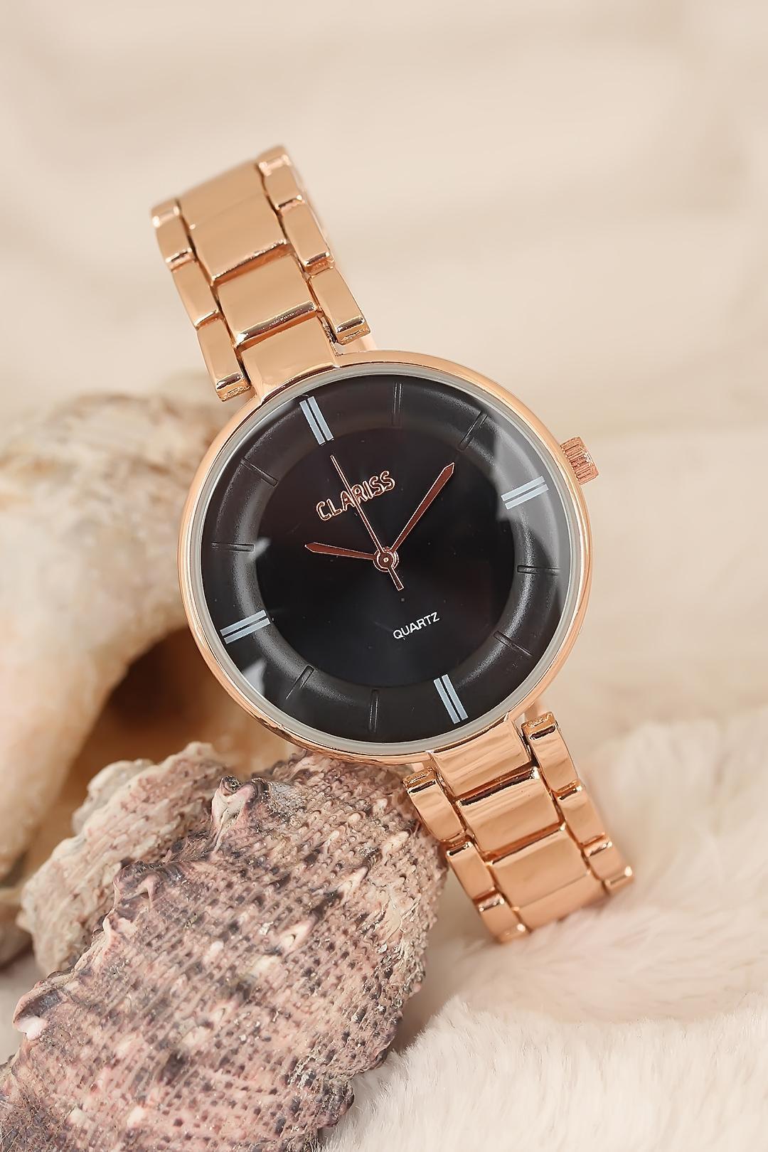 ساعة يد أنيقة بإطار معدني وردي نسائية