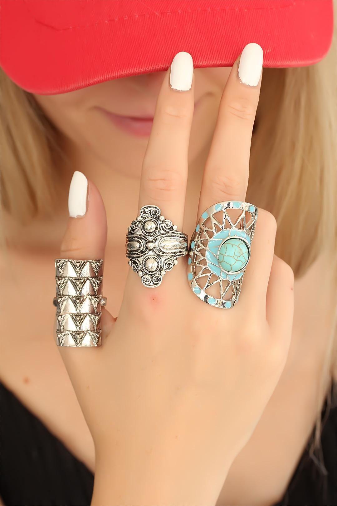 Women's Blue Gemmed Silver Authentic Ring Set