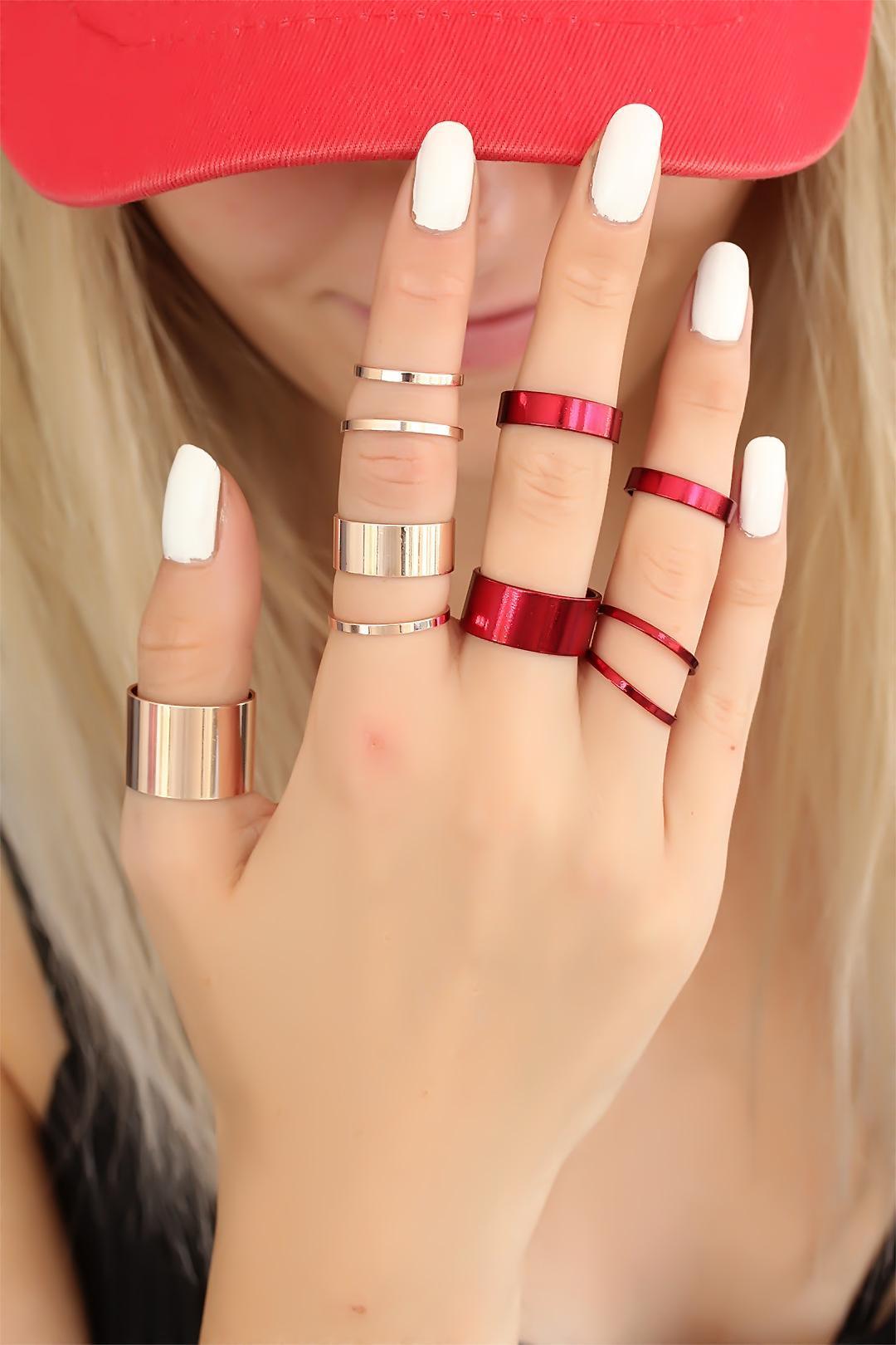 Women's Rose Fuchsia Metal Ring Set