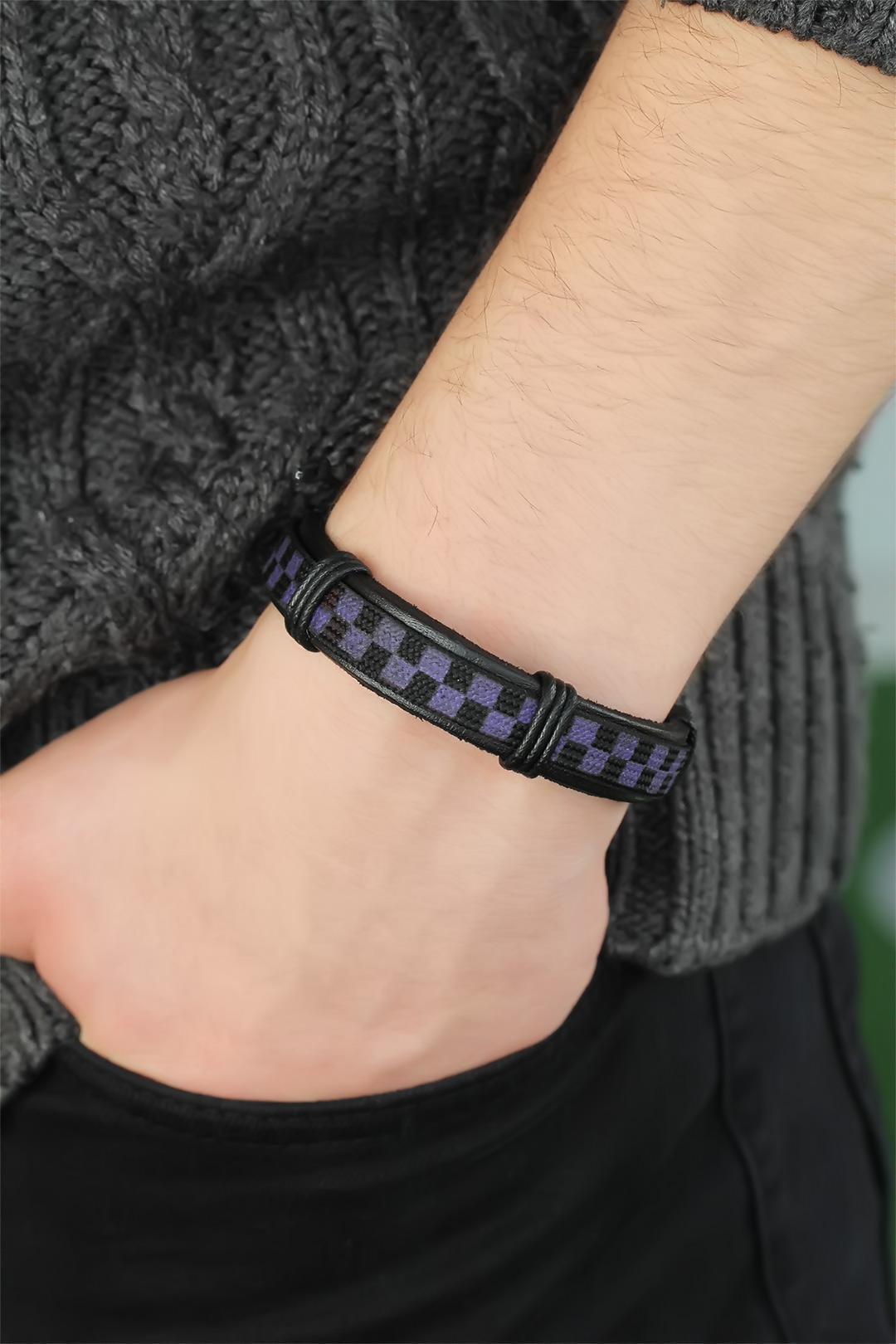 Men's Plaid Black Purple Leather Bracelet