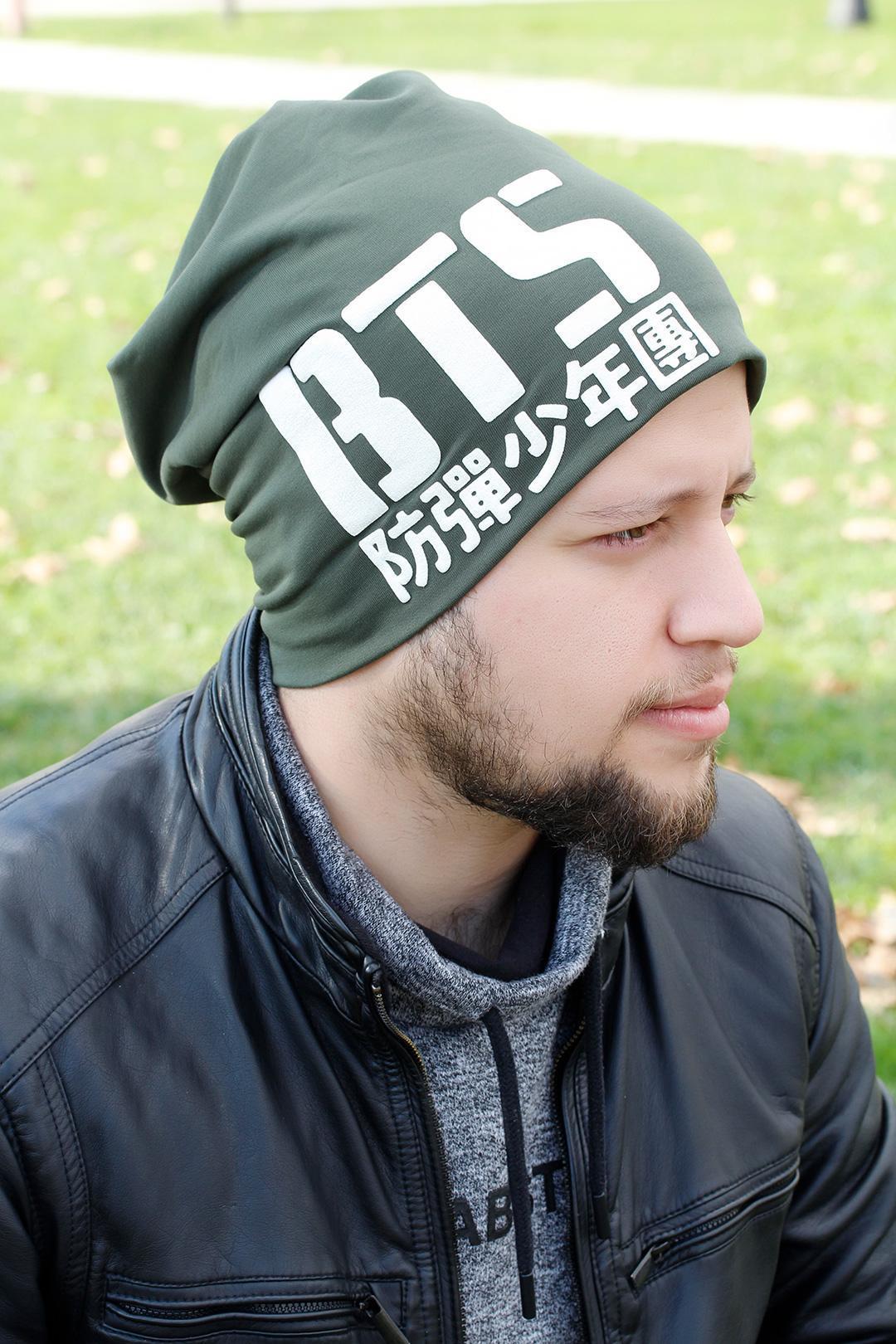 قلنسوة خضراء بطبعة شعار BTS رجالي