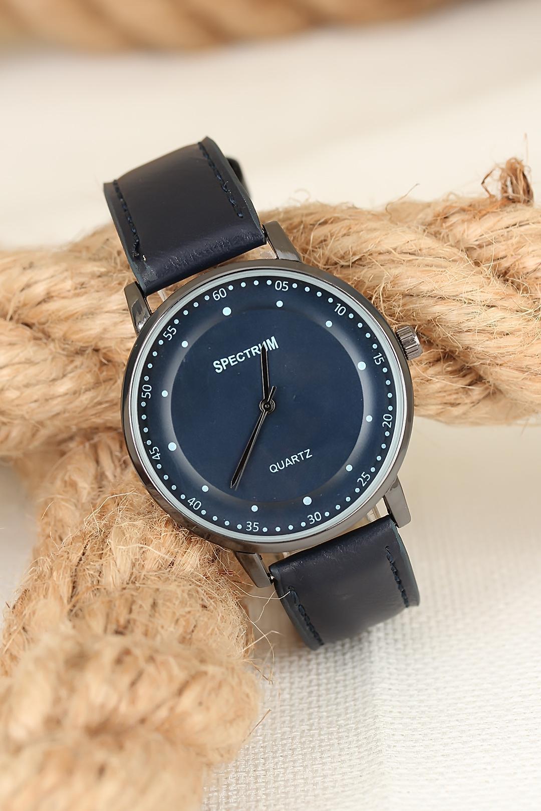 Men's Navy Blue Leather Strap Smoky Metal Case Watch