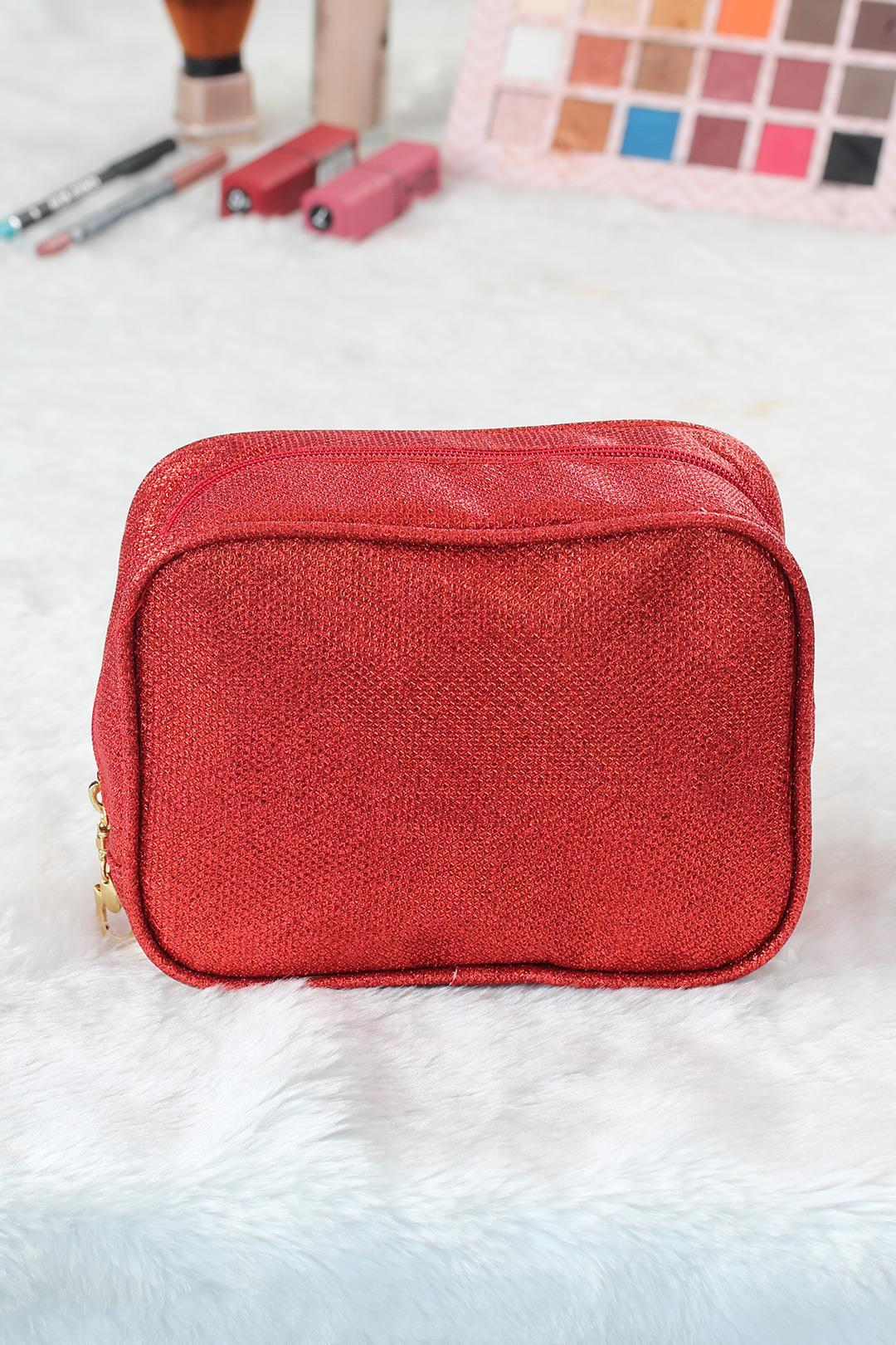 Women's Glitter Red Square Makeup Bag