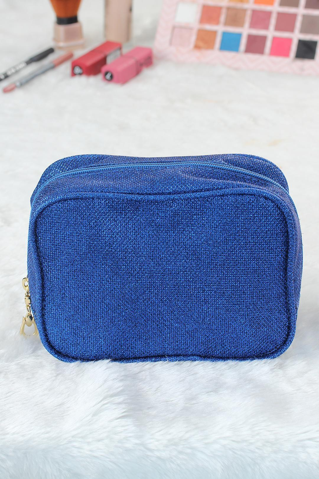 Women's Glitter Blue Square Makeup Bag