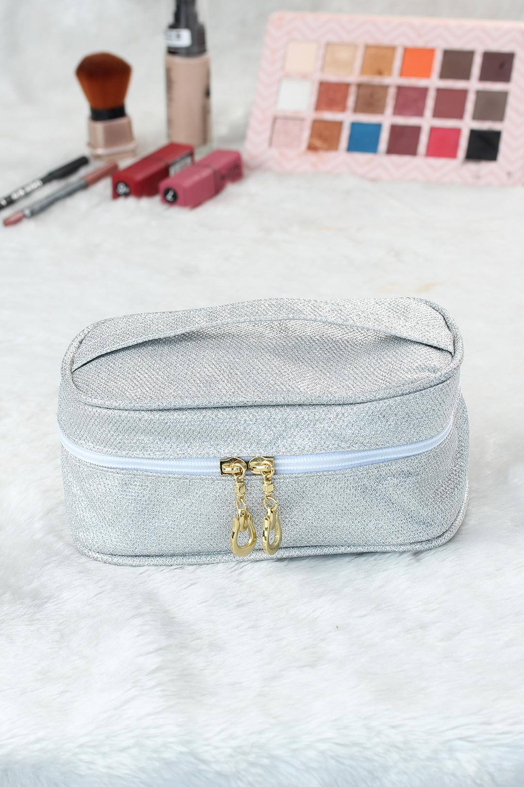 Women's Glitter White Makeup Bag