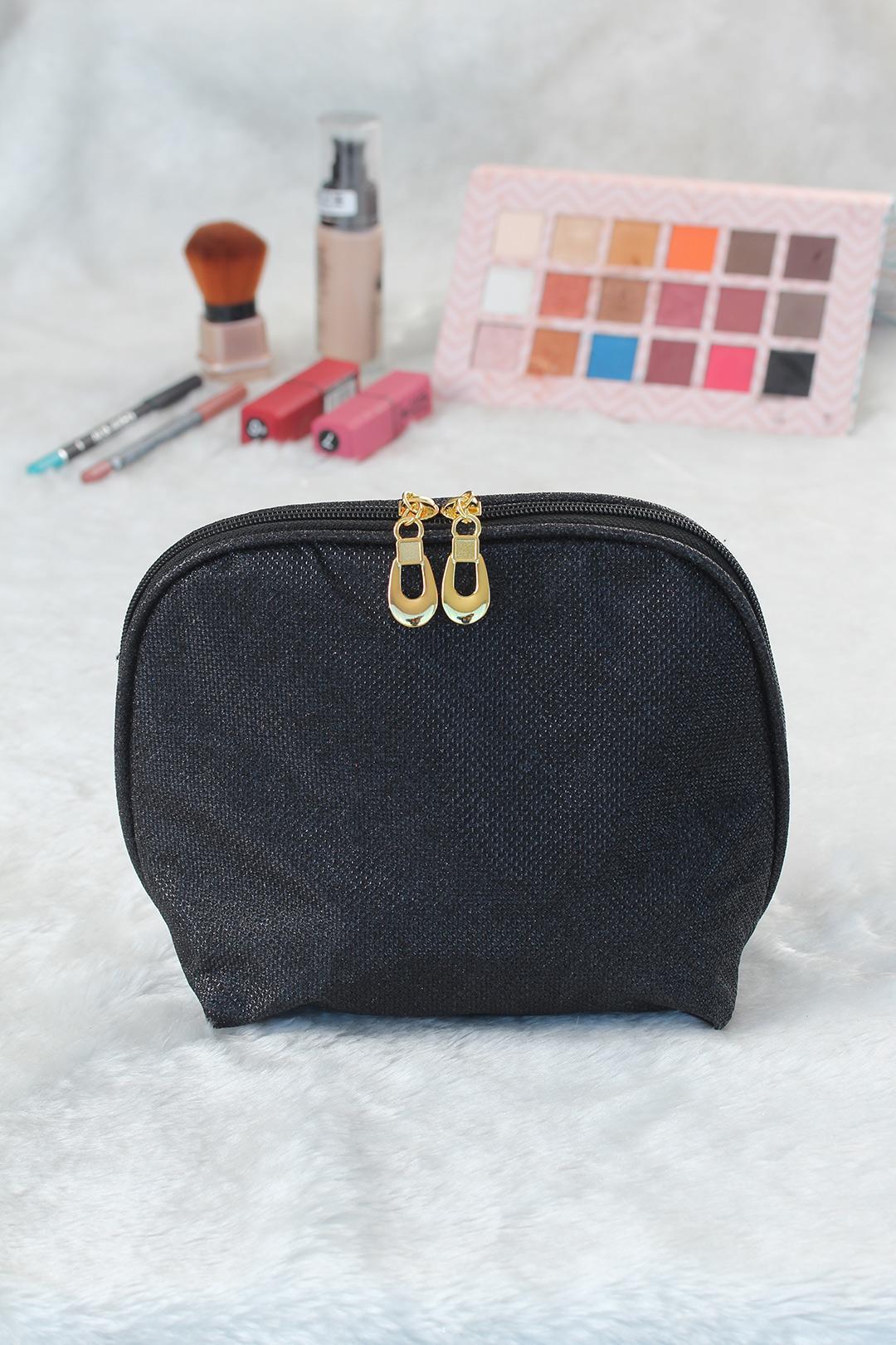 Women's Glitter Black Makeup Bag