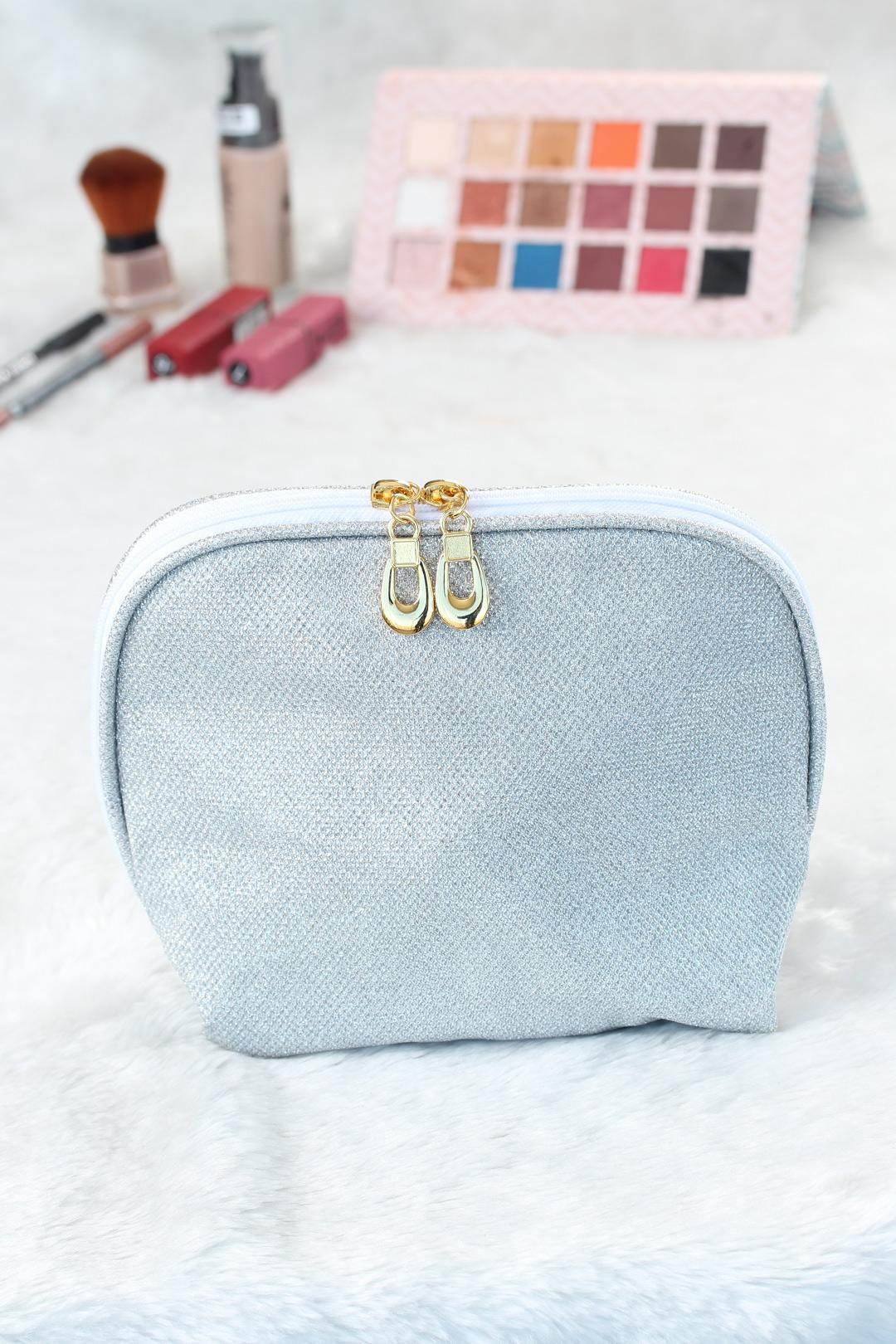 Women's Glitter White Makeup Bag