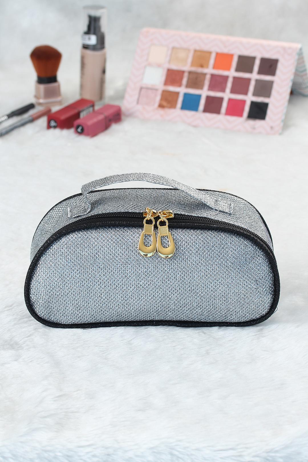 Women's Glitter Grey Makeup Bag