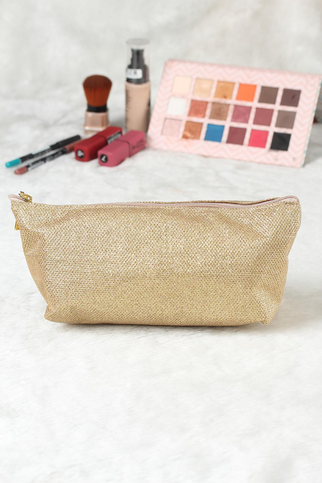 Women's Glitter Gold Makeup Bag