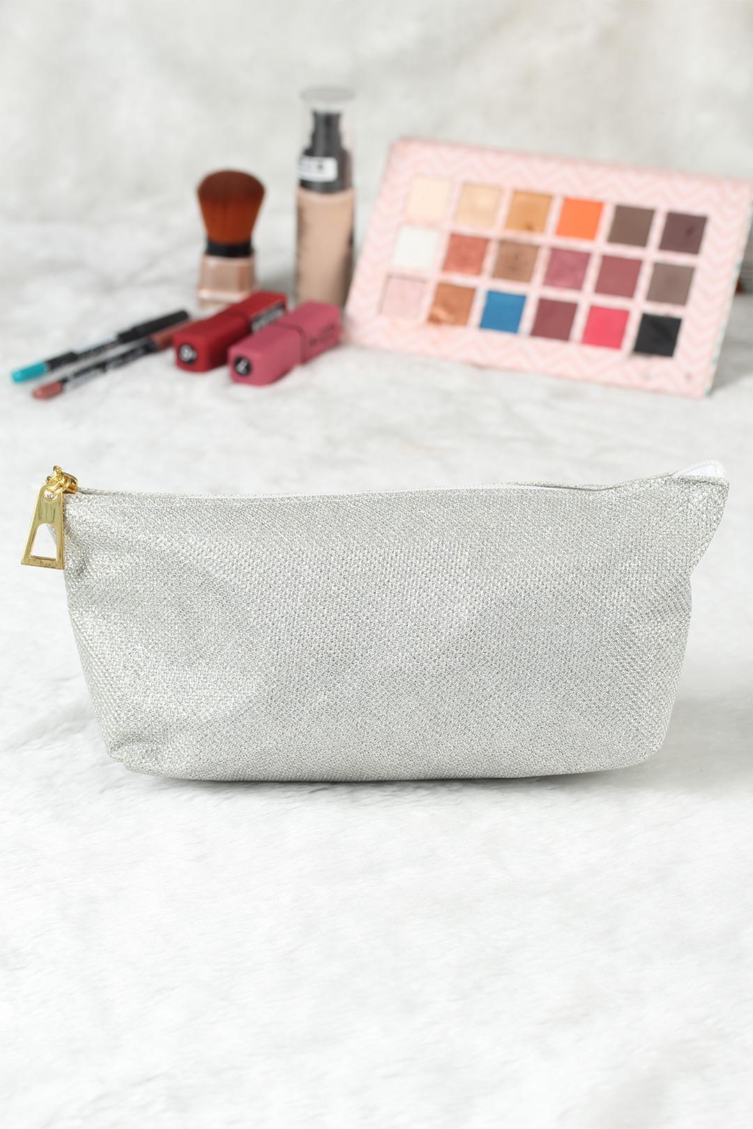 Women's Glitter Silver Makeup Bag