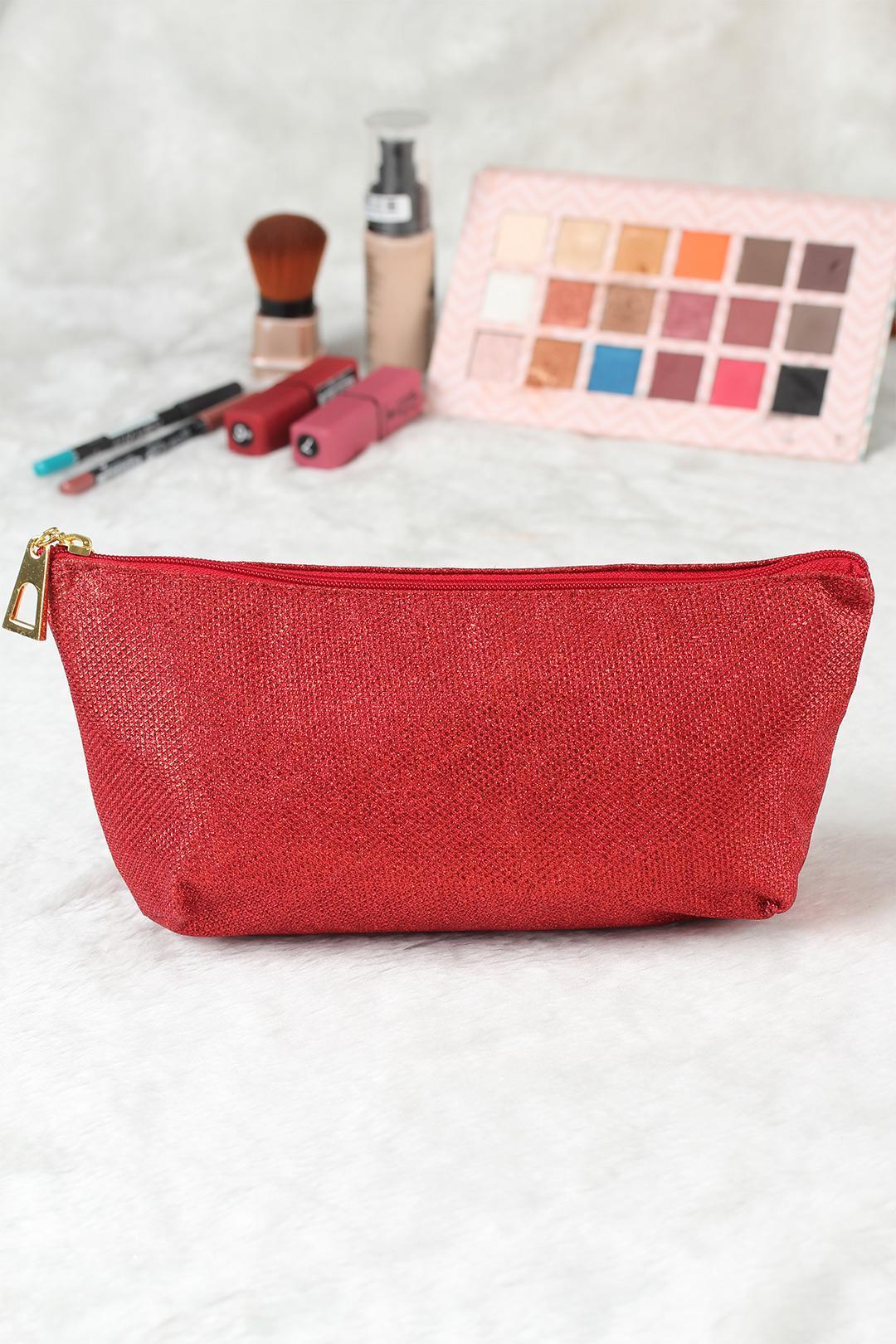 Women's Glitter Red Makeup Bag