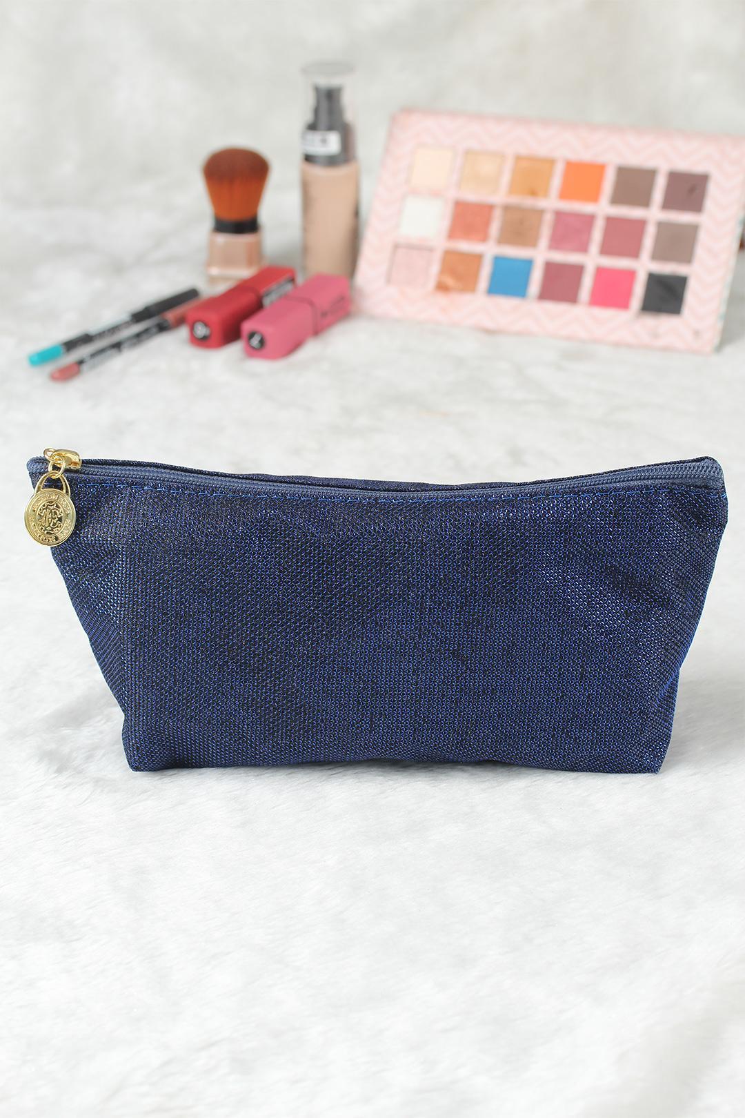 Women's Glitter Navy Blue Makeup Bag