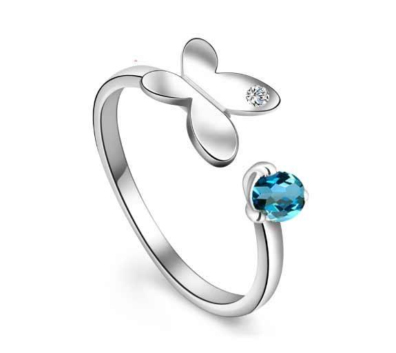 Women's Diamond Gem Butterfly Pendant Silver Ring