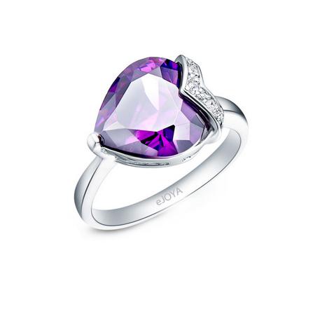 Women's Diamond & Amethyst Gemmed Heart Design Ring