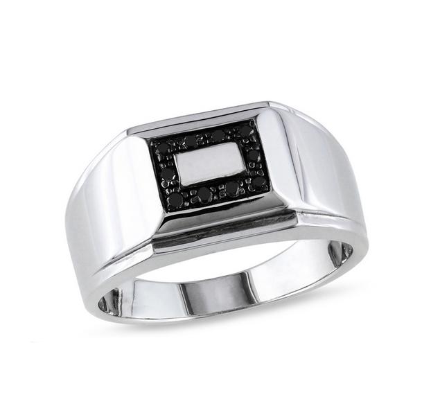 Men's Diamond Gemstone Silver Ring