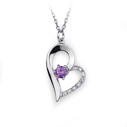 Amethyst & Diamond Gemstone Heart Pendant Necklace