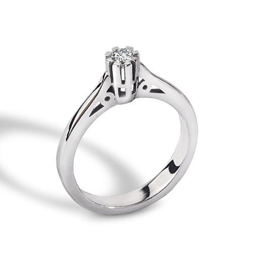 Women's 0,14 ct Single Diamond Gem Ring