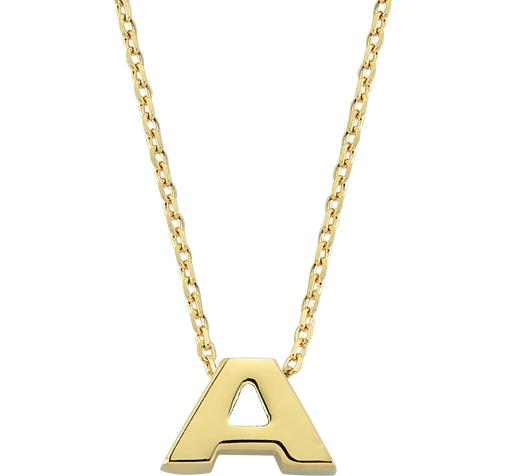 Letter A Pendant Gold Necklace
