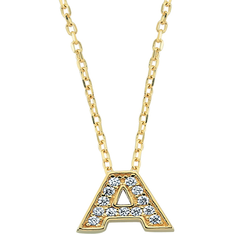 Women's Gemmed Letter A Pendant Gold Necklace