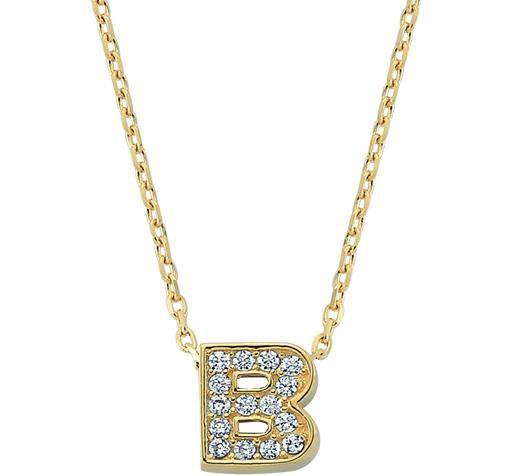 Women's Gemmed Letter B Pendant Gold Necklace