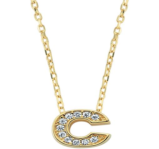 Women's Gemmed Letter C Pendant Gold Necklace