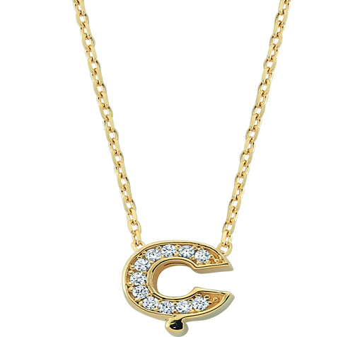 Women's Gemmed Letter Ç Pendant Gold Necklace