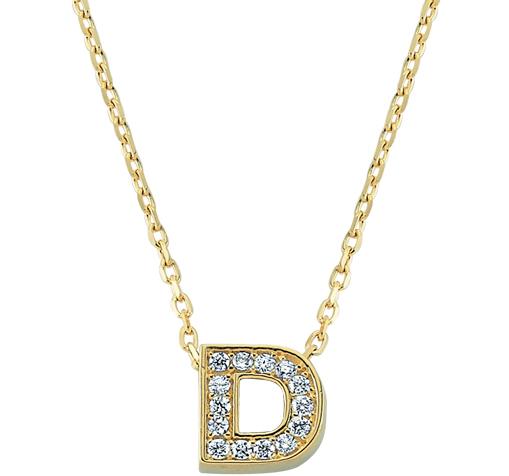 Gemmed Letter D Pendant Gold Necklace